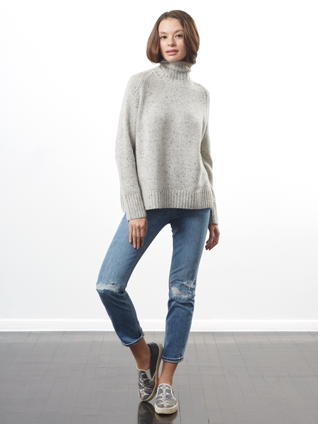 "<i id=""HT"">12</i> High Mock Neck With Fancy Raglan Sleeve Sweater"