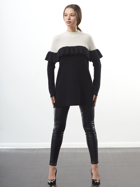 "<i id=""HT"">16</i> Colorblock Ruffle Trim Sweater"