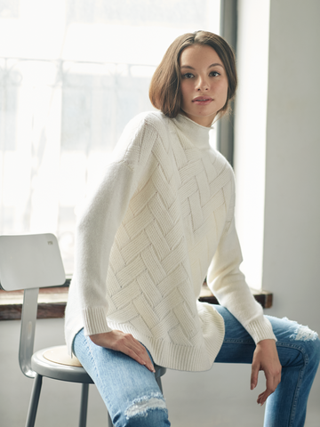 "<i id=""HT"">17</i> ""Brick"" Cable High Low Sweater"
