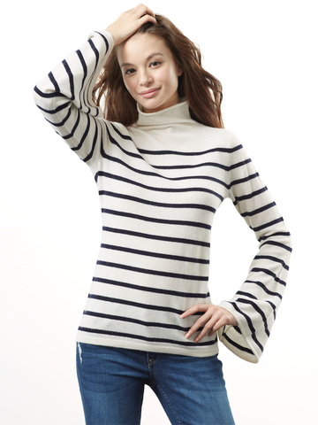 "<i id=""HT"">19</i> Mock Neck Striped Sweater with Bell Sleeves"