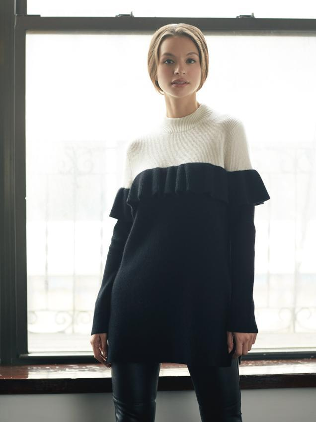 Colorblock Ruffle Trim Sweater