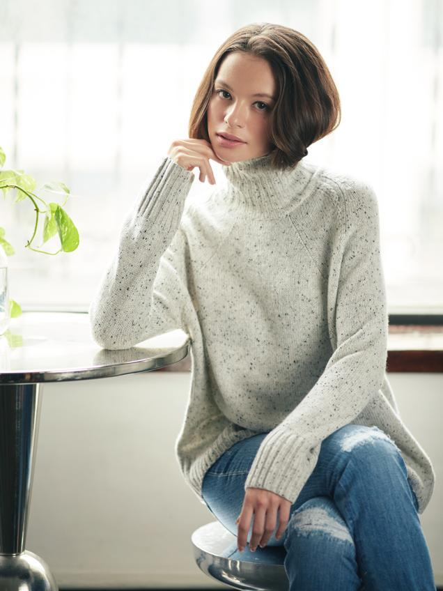 High mock neck with fancy raglan sleeve sweater