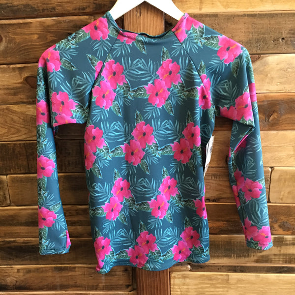 Kepuhi RashGuard Pink Hibiscus on Teal By Peace of Paradise