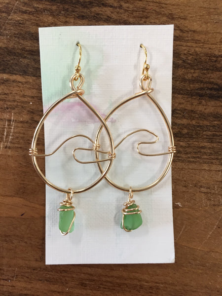 14kg plated gold hoops with waves and green sea glass by URAMAKAI