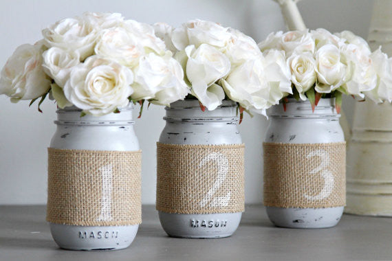 Mason Jars Table Numbers