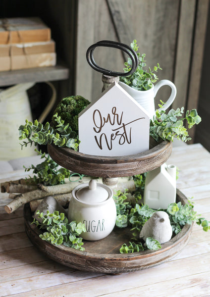 Wooden Tiered Tray Decor