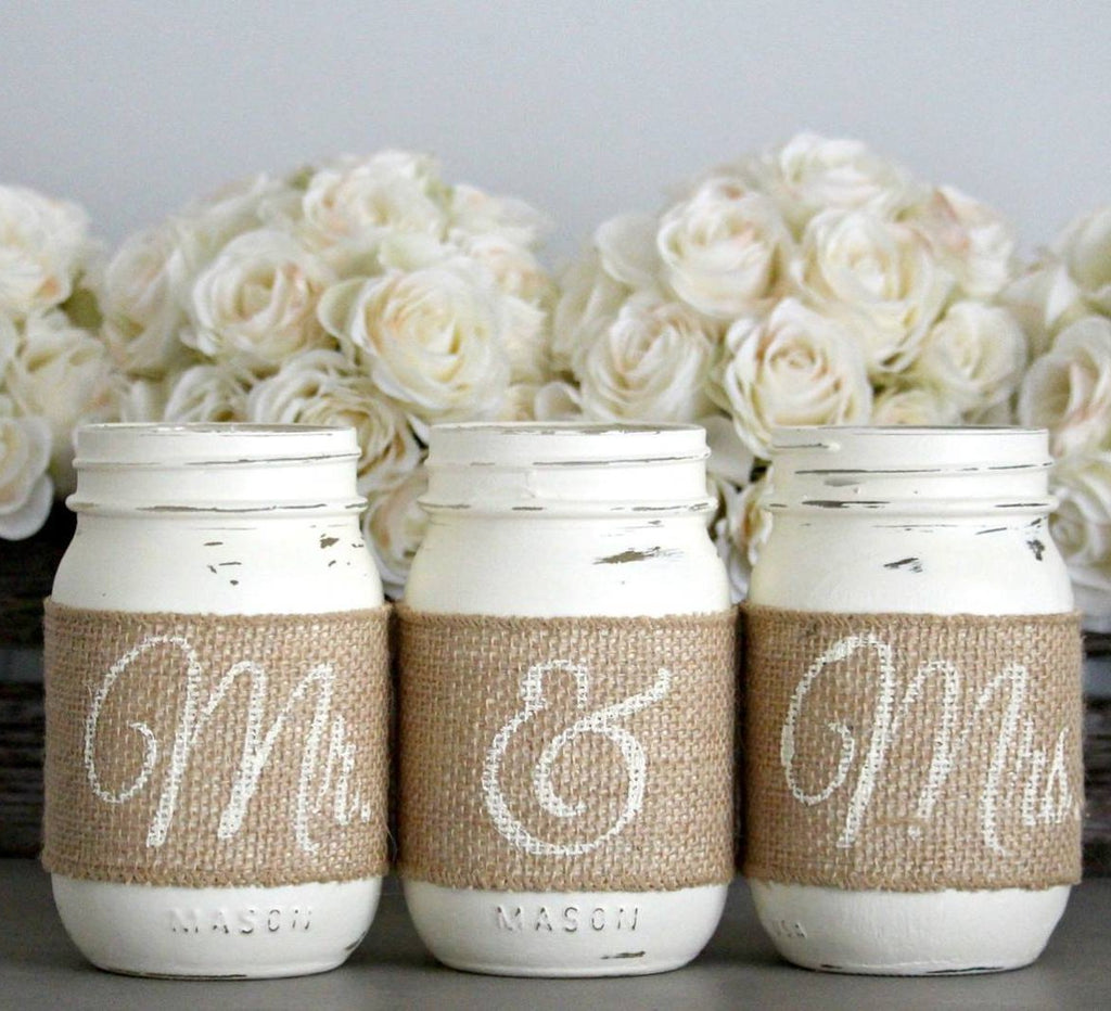 Rustic Wedding Table Decor,Rustic Bridal & Engagement Gift - Jarful House
