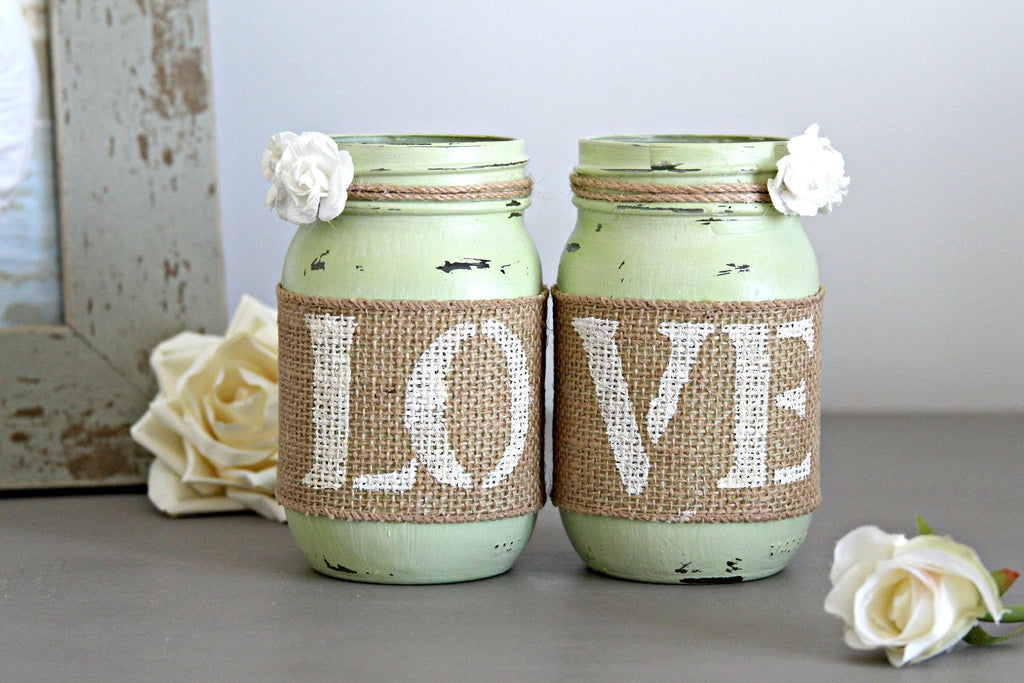 Rustic Valentine's Day Light Green Home Table Decor - Jarful House