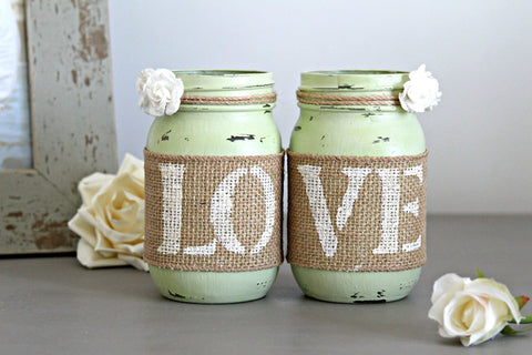 Rustic Light Green Wedding Table Decor - Jarful House