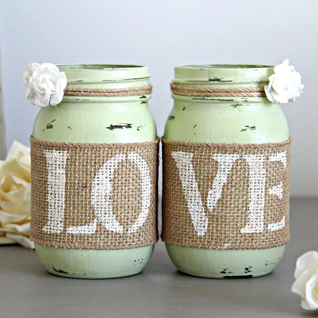 Double sided Rustic Wedding Celery Green Table Decor - Jarful House