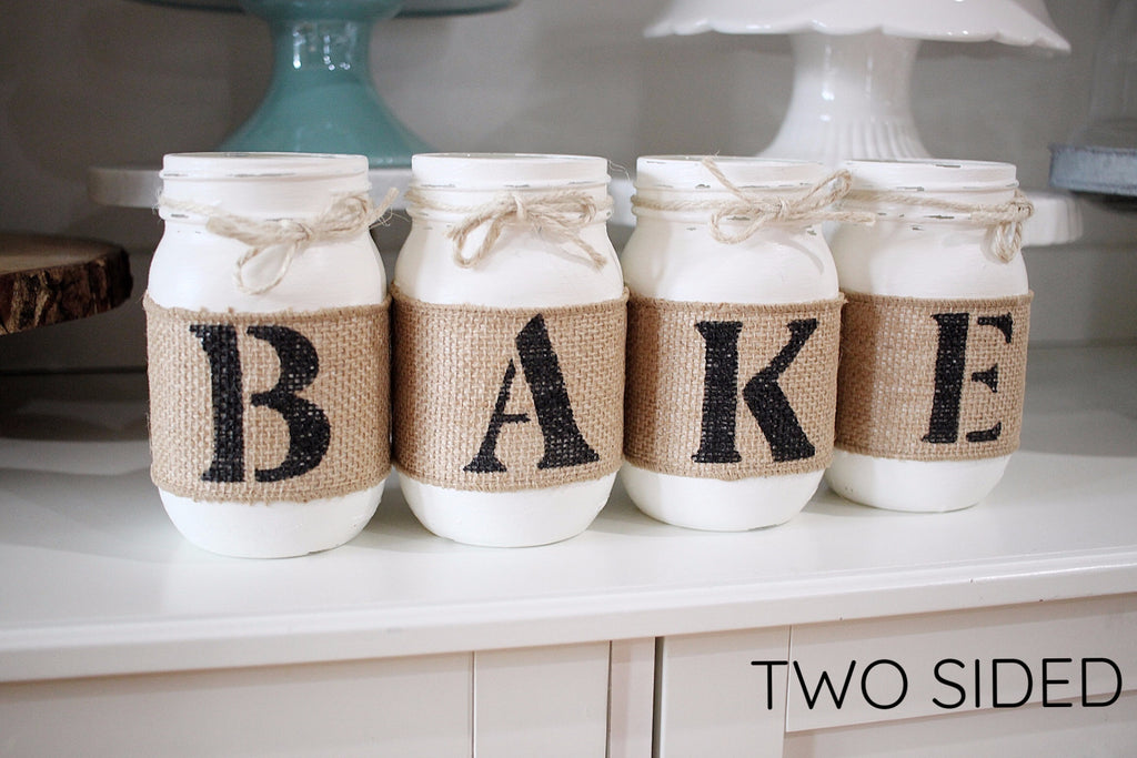 Farmhouse Kitchen Decor - Rustic Two Sided BAKE Jar Set - Jarful House
