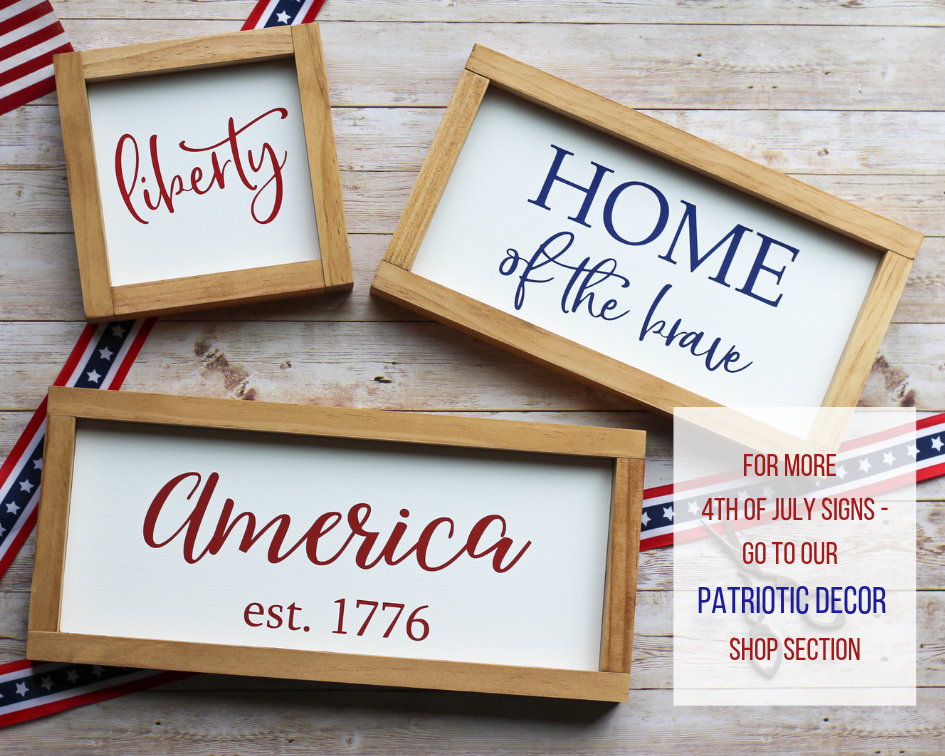 Patriotic Decor Liberty Sign 7 X 7 4th Of July Wall Sign Jarful House