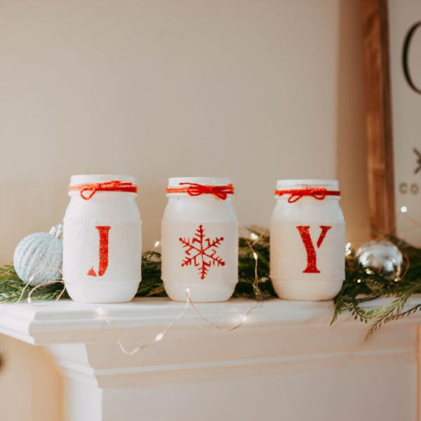 Rustic Christmas Table Centerpiece JOY - White and Red JOY Table Decor - Jarful House