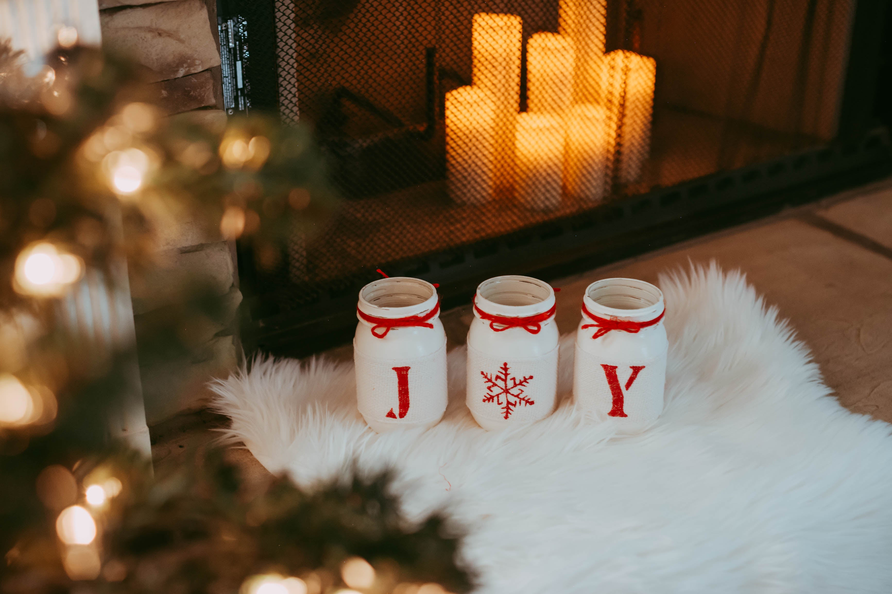 Rustic Christmas Table Decor Joy Christmas White Red Holiday Home Decor Jarful House