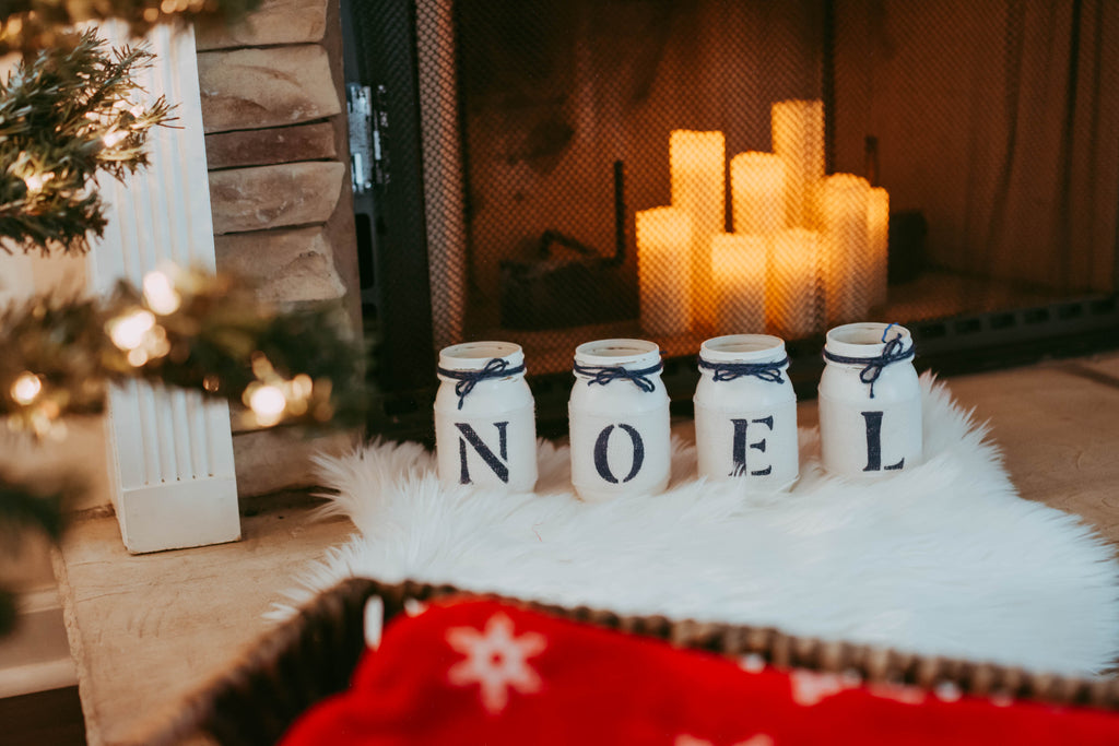 Rustic Christmas Mantel Decor in White and Blue NOEL - Two Sided - Jarful House
