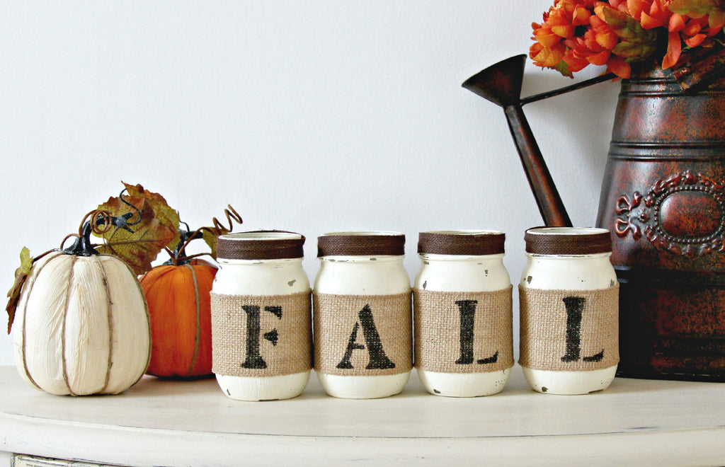 Farmhouse Fall Table Centerpiece | White Fall Home Decor - Two Sided - Jarful House