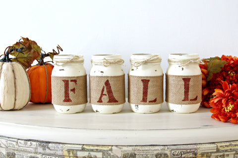 Burnt Orange Rustic Fall Table Decor - Thanksgiving Table Centerpieces - ONE SIDED - Jarful House