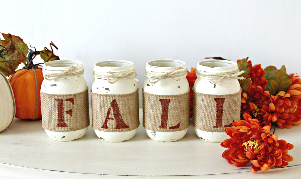 Farmhouse Fall Decor Table Centerpiece  - Thanksgiving Centerpieces - ONE SIDED - Jarful House