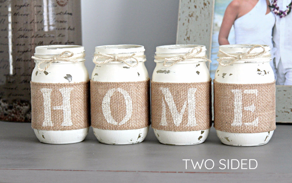Farmhouse Home Decor | Rustic Table Decor  - Two Sided Decorative Jars - Jarful House