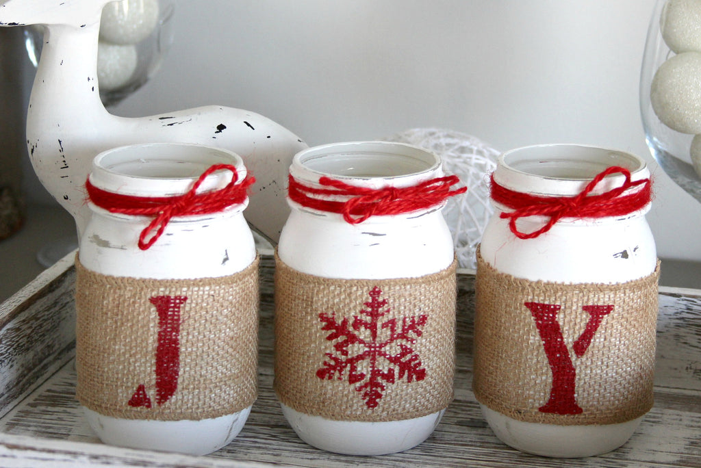 Rustic Farmhouse White & Red Christmas Decor - JOY Table Centerpiece - Jarful House