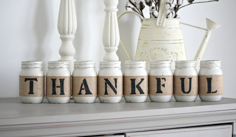 THANKFUL Rustic Table  Fireplace Decor - Jarful House