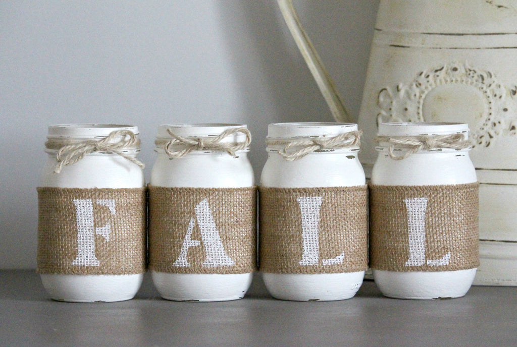 White Farmhouse Fall Table Centerpieces | Rustic Fall Decor - One Sided - Jarful House