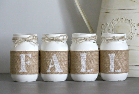 White Farmhouse Fall  Decor -  Table Centerpieces - ONE SIDED - Jarful House