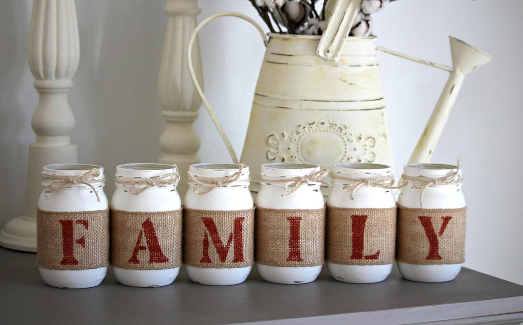 Rustic Home Table Decor | FAMILY Decorative Jars  - Two Sided - Jarful House
