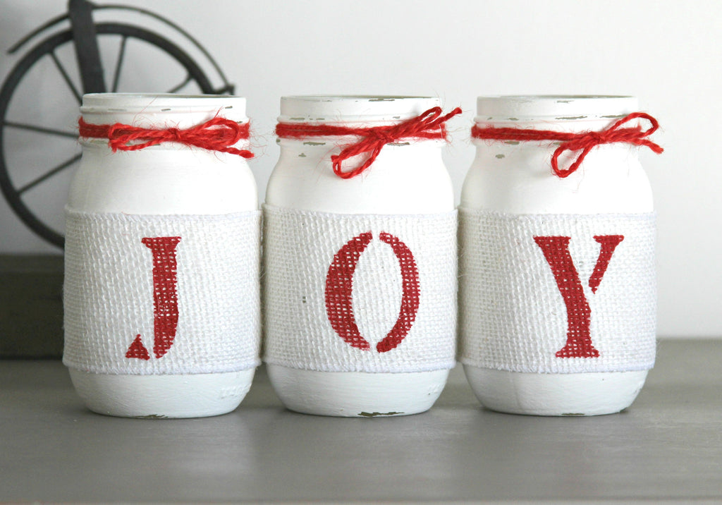 Rustic Christmas Table Decor JOY in Pure White and Holiday Red - Jarful House