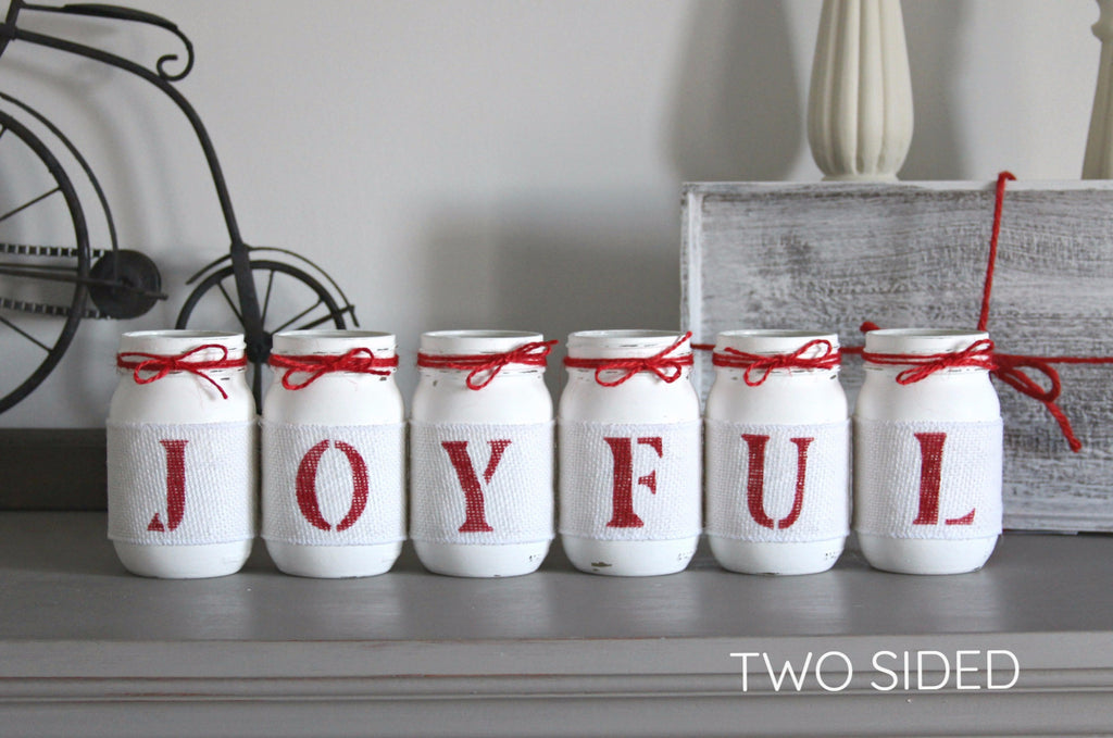 JOYFUL Rustic Christmas Home Table Decor- Two Sided - Jarful House