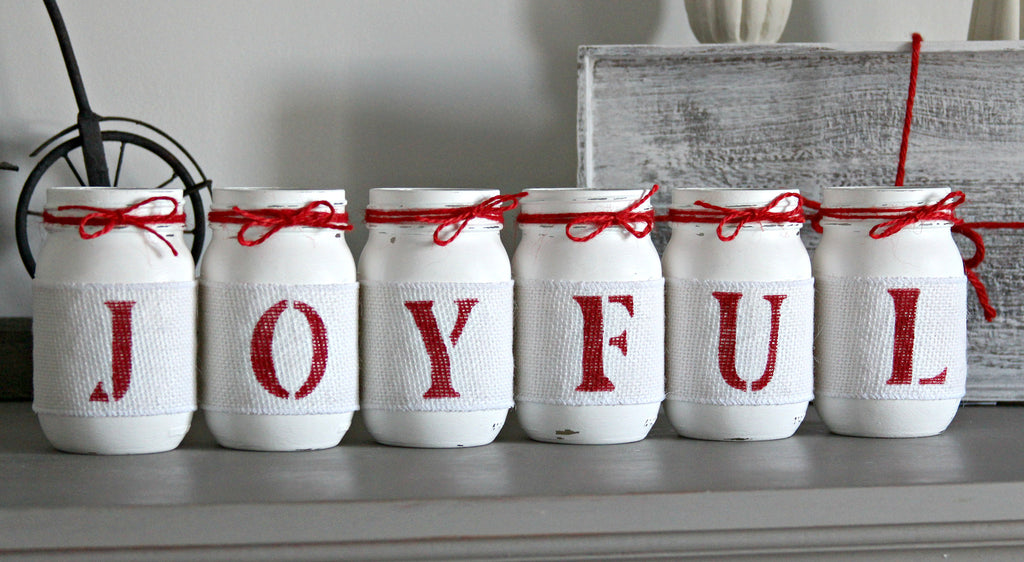 JOYFUL Rustic Christmas Table Decor- One Sided - Jarful House