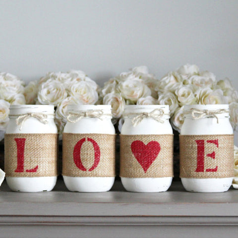 Rustic Home Decor | Valentines's Day Gift | Love Decorative Jars - One Sided - Jarful House