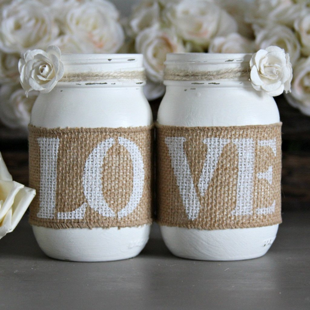 Rustic White Engagement Table Decor - Jarful House