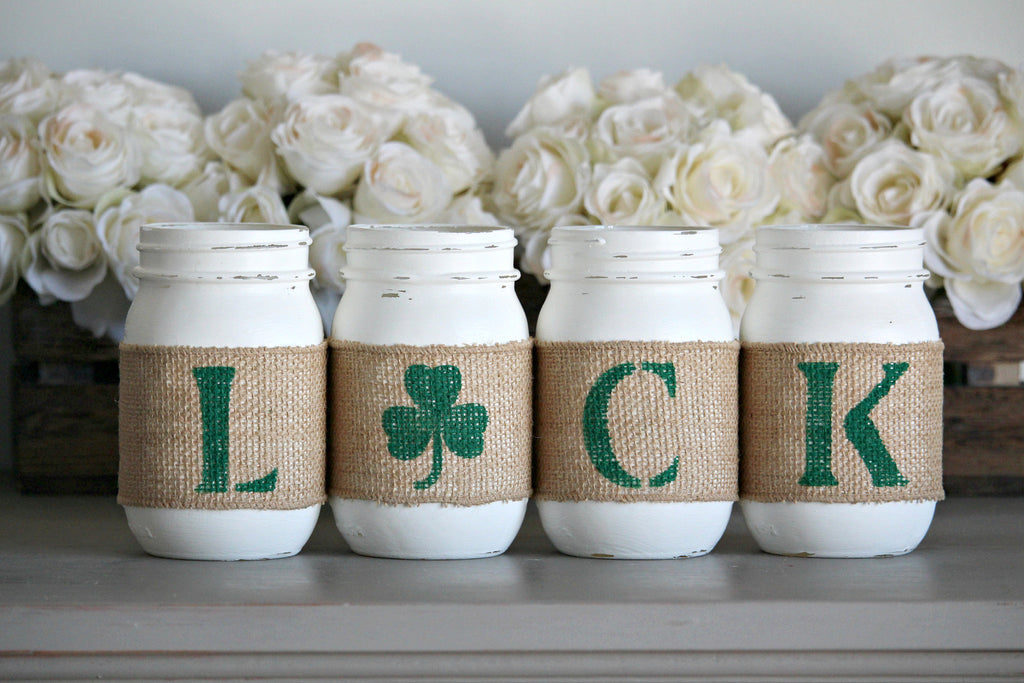 St Patrick's Day Rustic Home Decor , Irish Table Decor - Jarful House
