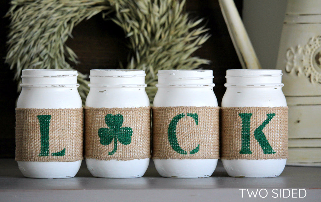 St Patrick's Day Rustic Home Decor Two Sided Irish Table Decor - Jarful House