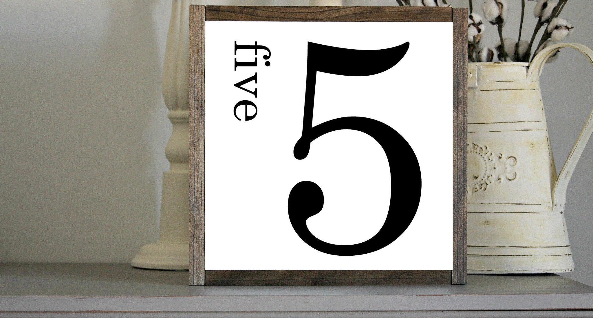 Rustic Number 5 Wall Gallery Decor With Wooden Frame
