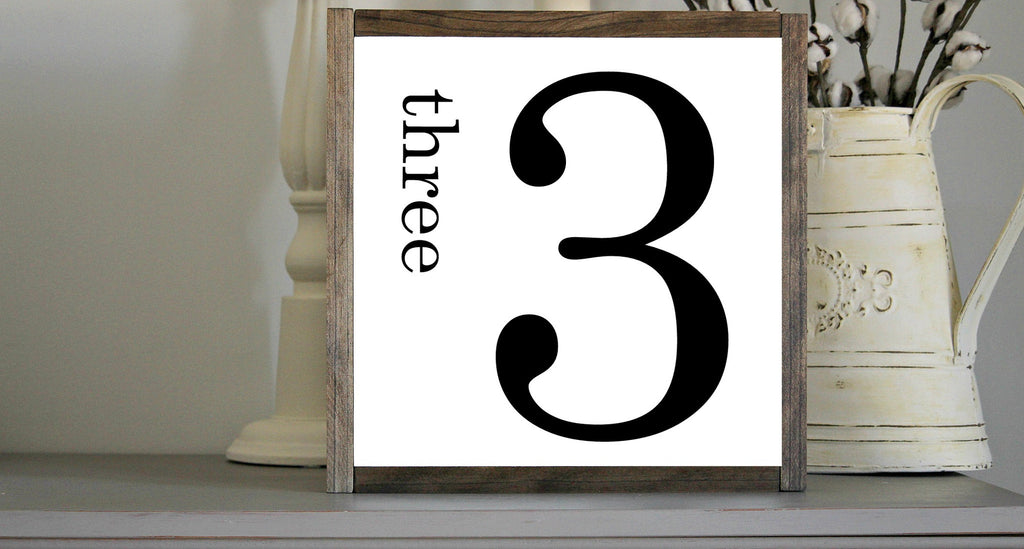 Rustic Wall Hangings - Farmhouse Framed Rustic Number 3 - Jarful House