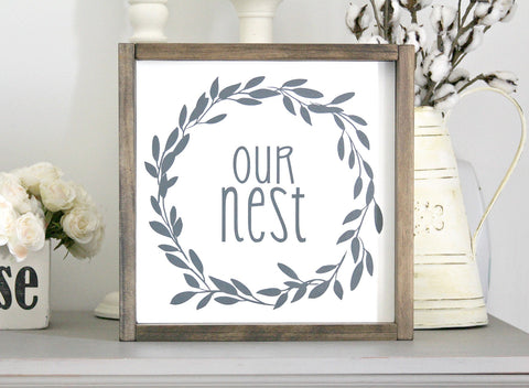 Farmhouse Framed Wall Sign Decor Our Nest - Jarful House