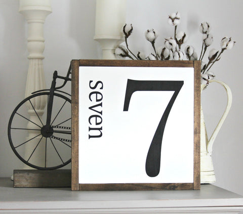 Farmhouse Wall Decor Number 7- Framed Wooden Sign - Jarful House