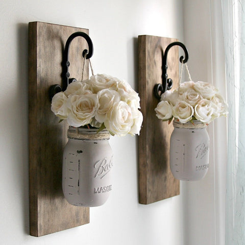 Set of 2 Rustic Wall Sconces -Hanging Mason Jars Decor