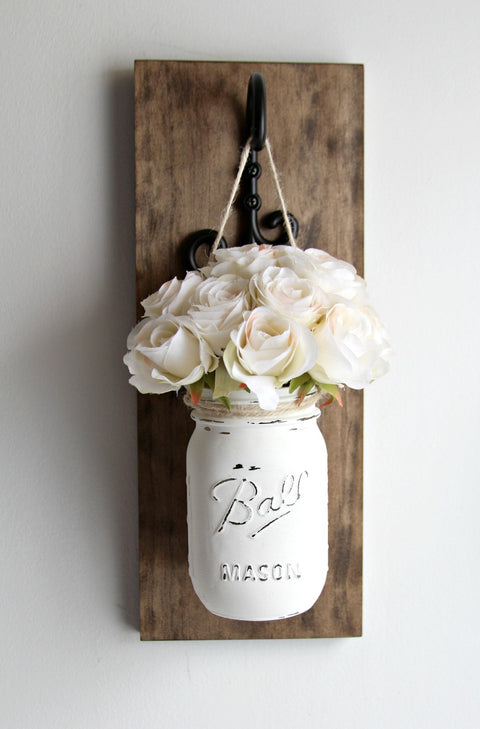 Hanging Painted Mason Jar Wall Sconce | Rustic Home Decor - Jarful House