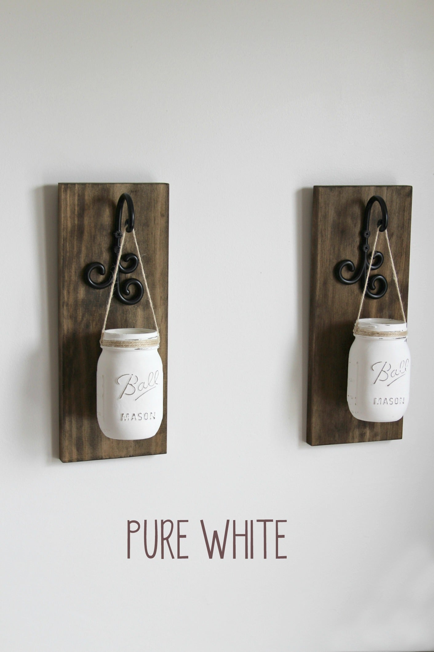 Hanging Painted Mason Jar Wall Sconces | Rustic Wall Decor   Jarful House