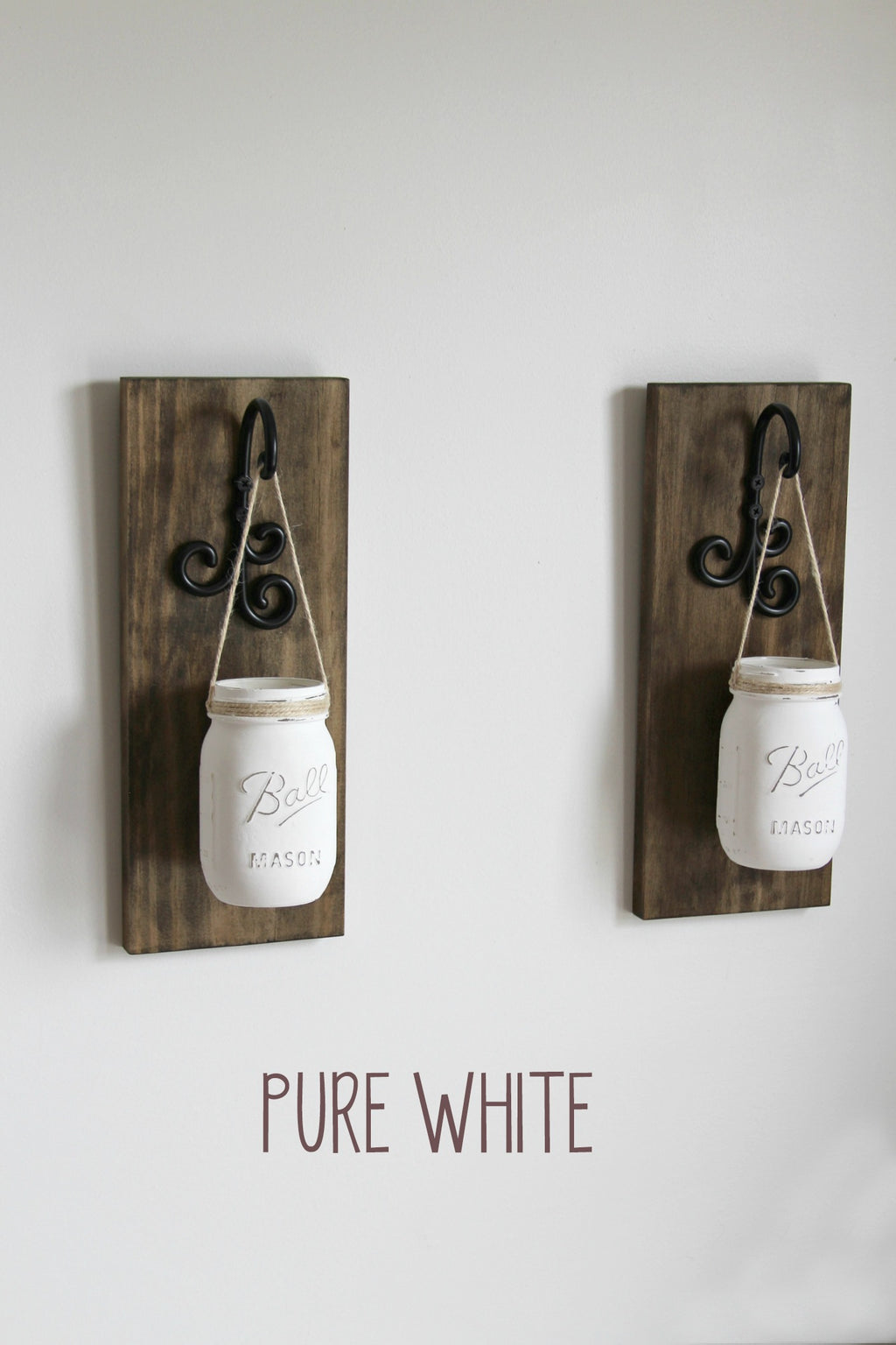 Hanging Painted Mason Jar Wall Sconces |  Rustic Wall Decor - Jarful House
