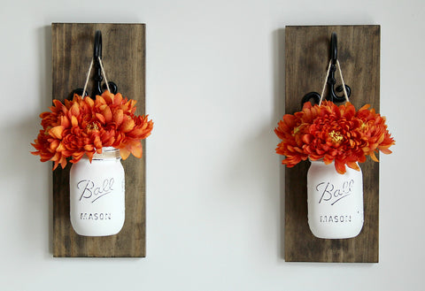 Fall Wall Decor-Two Wall Sconces with Jars