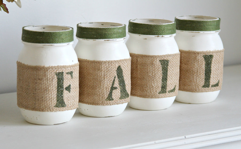 Fern Green Rustic Fall Decor -Table Centerpieces - ONE SIDED - Jarful House