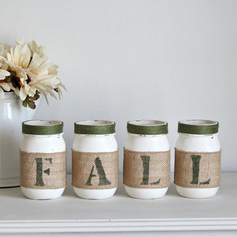 Green Rustic Fall Decor | Autumn Table Centerpieces - ONE SIDED - Jarful House