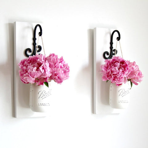 Limited Edition -Hanging Painted Mason Jar Wall Sconces | Farmhouse Decor - Jarful House