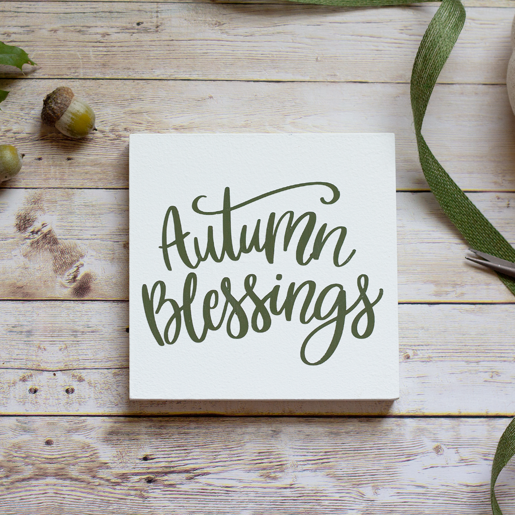 Tiered Tray Sign Autumn Blessing - Olive Green Fall Home Decor - Jarful House
