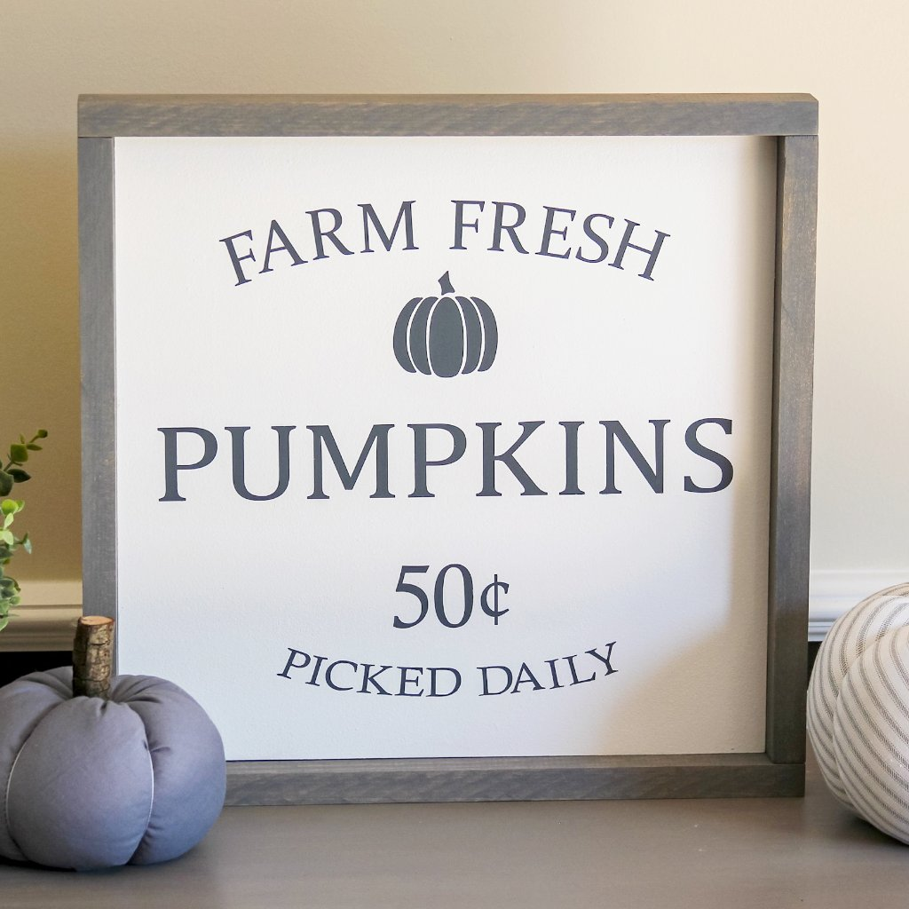Gray Farm Fresh Pumpkins Framed Sign- Rustic Wall Decor - Jarful House