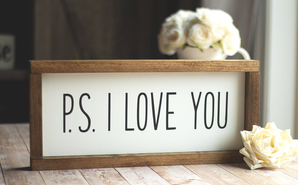 PS I LOVE YOU Wall Sign - Valentine's Day Decor - Black Letters - Jarful House